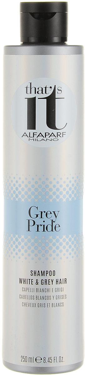 Alfaparf Thats it Grey Pride Shampoo Шампунь тонирующий для светлых и седых волос, 250 мл13178Тонирующий шампунь устраняет нежелательные теплые оттенки, дарит сияние натуральным и окрашенным, светлым и седым волосам. Жемчужные светоотражающие частицы создают безграничную игру цвета, делают волосы максимально блестящими. Входящий в состав шампуня фитокератин увлажняет и защищает волосы, делая их более сильными, мягкими и шелковистыми. Объем: 250 мл