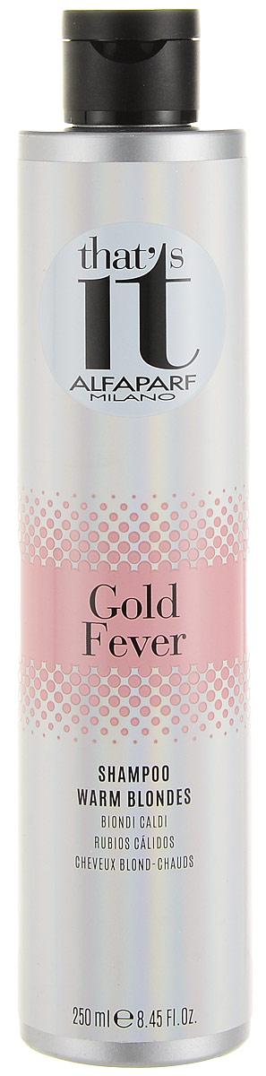 Alfaparf Thats it Gold Fever Shampoo Шампунь тонирующий в теплые оттенки цвета блонд, 250 мл13177Тонирующий шампунь дарит новую жизнь и сияние как натуральным, так и окрашенным светлым волосам теплых оттенков. Объем: 250 мл