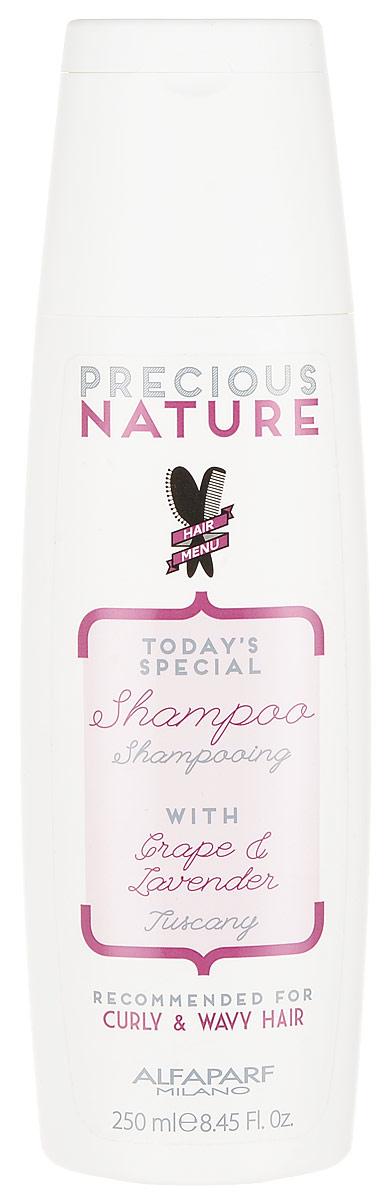 Alfaparf Precious Nature Shampoo for Curly and Wavy Hair Шампунь для кудрявых и вьющихся волос, 250 мл12512Мягкий очищающий шампунь для вьющихся, кудрявых и волнистых волос, обеспечивает максимальный контроль завитка. Входящие в состав эссенция лаванды и сыворотка винограда способствуют формированию идеальных, четко очерченных и разделенных волн, кудрей и завитков, не утяжеляя волосы. Сохраняет оптимальный уровень увлажненности и делает волосы гладкими. *100% натуральный ингредиент. НЕ СОДЕРЖИТ: сульфатов, парабенов, парафинов, минеральных масел, синтетических веществ, аллергенов *гипоаллергенные экстракты растений и ароматизаторы Объем: 250 мл