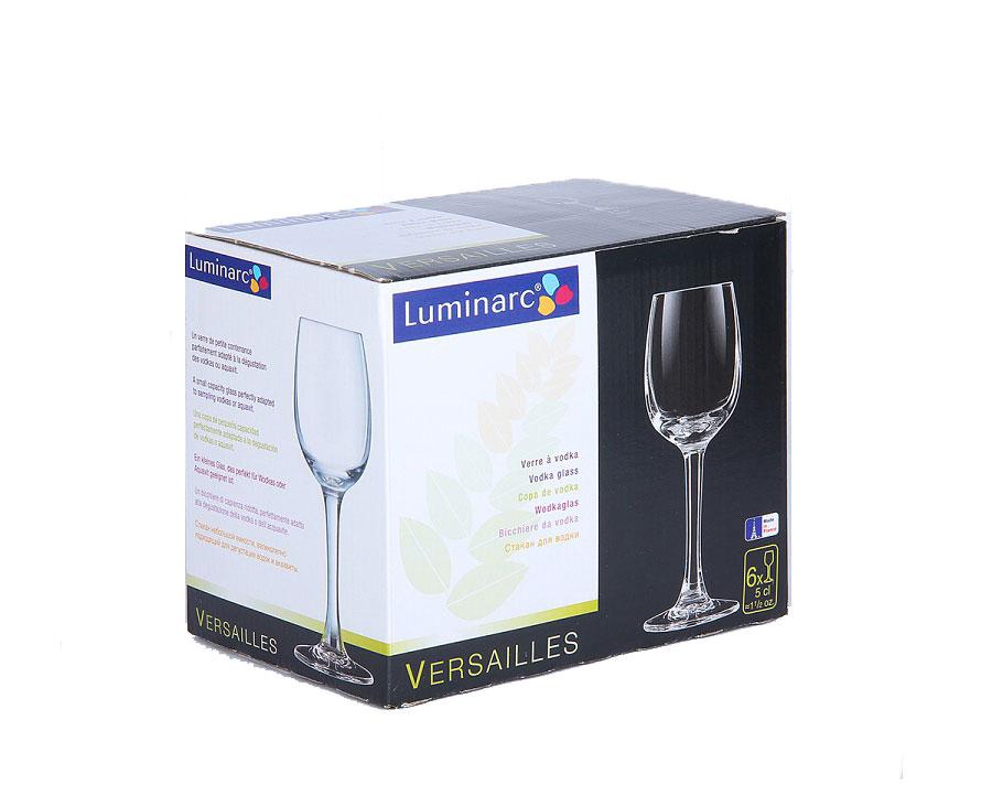 Набор рюмок Luminarc Versalles, 50 мл, 6 штG1649Набор Luminarc Versalles состоит из 6 рюмок на длинных тонких ножках, изготовленных из высококачественного стекла. Изделия оформлены в классическом стиле. Можно мыть в посудомоечной машине.