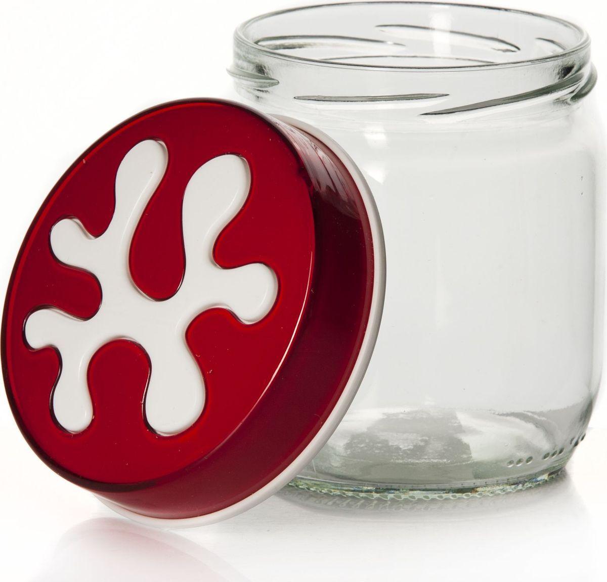Банка для сыпучих продуктов Pasabahce, 425 мл. 135357-205135357-205Емкость прозрачная с цветной крышкой, V=425 мл, 90*90*100 мм