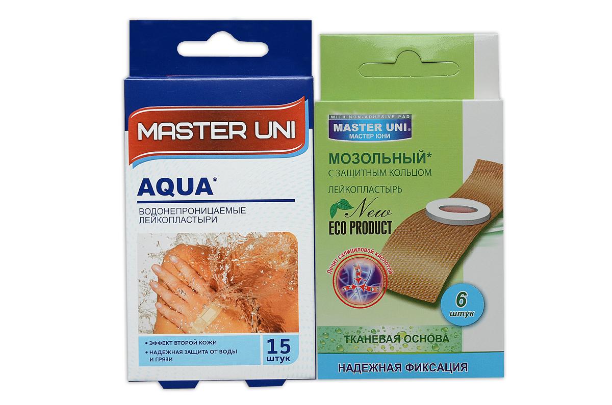 Master Uni Mix Аqua набор лейкопластырей, 15+6шт17012МMIX АQUA - состоит из двух видов лейкопластырей - бактерицидного и от сухих мозолей. Набор бактерицидных лейкопластырей на тонкой полимерной прозрачной основе, эффект второй кожи надежно защищают рану от попадания влаги во время водных процедур. Надежно фиксируется на коже, повторяя изгибы тела, абсорбирующая подушечка имеет дополнительную защиту от грязи и микробов со всех сторон, покрыта бактерицидной атравматической сеткой, которая не прилипает к ране. Мозольный пластырь - эффективное средство для удаления ороговевшей кожи любой части стопы. Пластырь на тканевой основе надежно фиксируется на ноге и принимает нужную форму при ходьбе. Мягкое защитное кольцо пластыря предохраняет здоровую кожу от контакта с лечебным веществом - салициловой кислотой, которая безболезненно удаляет ороговевшую кожу с Ваших ступней и пальцев ног. Противопоказания: индивидуальная непереносимость, повреждения кожи, кожные заболевания. Master Uni MIX TRAVEL KIT - Мягкая и нежная кожа Ваших ног! В наборе:...