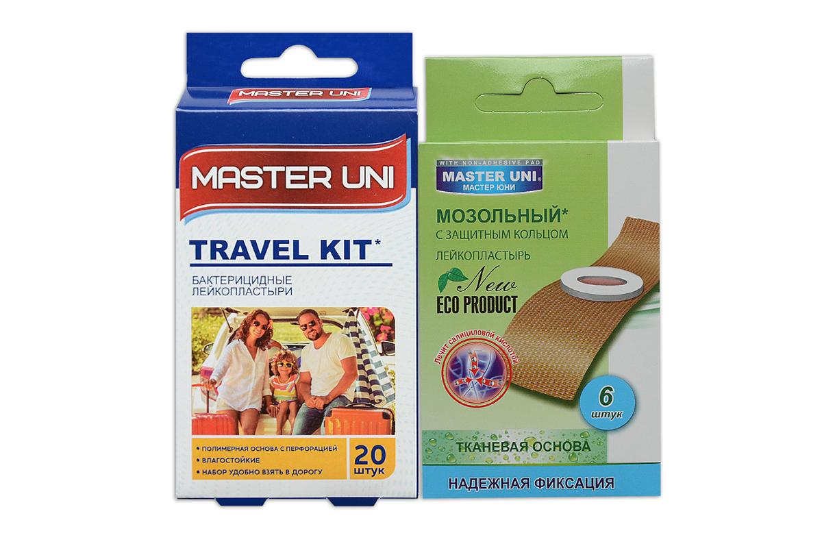 Master Uni Mix Travel Kitнабор лейкопластырей, 20+6шт17015МMIX TRAVEL KIT - состоит из двух видов лейкопластырей - бактерицидного и от сухих мозолей. Набор бактерицидных лейкопластырей на полимерной основе телесного цвета, надежно защищают рану от попадания загрязнений. Эффективен при ссадинах, порезах и мелких повреждениях кожи. Мягкая перфорированная полимерная основа обладает повышенной воздухопроницаемостью, позволяет коже свободно дышать, влагостойкие, надежно фиксируется на коже, повторяя изгибы тела, абсорбирующая подушечка моментально всасывает раневые выделения, имеет дополнительную защиту от грязи и микробов со всех сторон, покрыта бактерицидной атравматической сеткой, которая не прилипает к ране. Антисептик: риванол, эффективно дезинфицирует и способствует быстрому заживлению раны без образования рубцов. Мозольный пластырь - эффективное средство для удаления ороговевшей кожи любой части стопы. Пластырь на тканевой основе надежно фиксируется на ноге и принимает нужную форму при ходьбе. Мягкое защитное кольцо пластыря предохраняет...