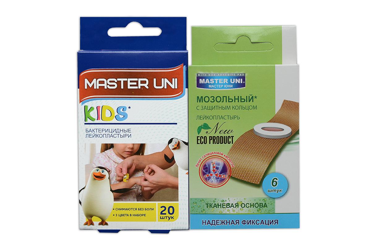 Master Uni MIX KIDS набор лейкопластырей, 20+6шт17024МMIX KIDS - состоит из двух видов лейкопластырей - бактерицидного и от сухих мозолей. Набор бактерицидных лейкопластырей на полимерной основе с рисунками надежно защищают ранку от попадания загрязнений. Эффективен при ссадинах, порезах и мелких повреждениях кожи. Прозрачная влагостойкая основа с веселыми рисунками для увлекательного лечения раны надежно фиксируется на коже, повторяя изгибы тела, абсорбирующая подушечка моментально всасывает раневые выделения, имеет дополнительную защиту от грязи и микробов со всех сторон, покрыта бактерицидной атравматической сеткой, которая не прилипает к ране. Сторона пластыря, контактирующая с кожей, не содержит красителей, кожа остается чистой. Антисептик: бензалкония хлорид, эффективно дезинфицирует и способствует быстрому заживлению раны без образования рубцов. Мозольный пластырь - эффективное средство для удаления ороговевшей кожи любой части стопы. Пластырь на тканевой основе надежно фиксируется на ноге и принимает нужную форму при ходьбе....