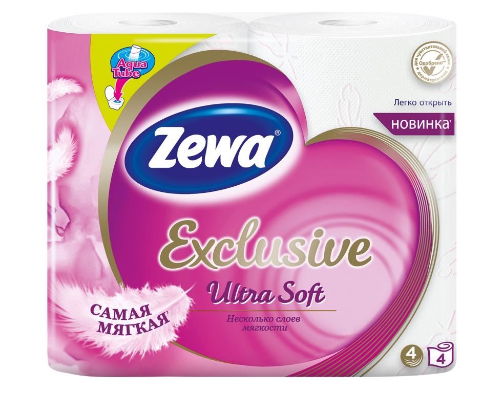 Бумага туалетная Zewa Exlusive Ultra Soft, четырехслойная, 4 рулона144112Zewa Exclusive - самая мягкая туалетная бумага, она бережно ухаживает за кожей благодаря 4м ультра-мягким слоям. Сенсация! Со смываемой втулкой Aqua Tube! Белая 4-х слойная туалетная бумага без аромата 4 рулона в упаковке Состав: целлюлоза Производство: Россия