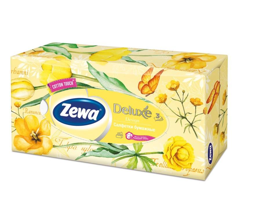 Салфетки бумажные косметические Zewa Deluxe, 90 шт, цвет: желтый28420_желтыйБумажные салфетки Zewa COTTON TOUCH® произведены с добавлением натуральных волокон хлопка и одновременно сочетают в себе мягкость и прочность. Они деликатно и нежно заботятся о Вашей коже и дарят незабываемые ощущения прикосновения хлопка. Бумажные салфетки Zewa в коробочках с ярким дизайном станут незаменимыми помощниками дома или на работе. Они спасут не только во время простуды, но и в повседневных делах, когда нужно вытереть руки или лицо, поправить макияж. Белые 3-х слойные носовые платки без аромата. 5 разных дизайнов коробок. 90 платков в коробке. Состав: целлюлоза, волокна хлопка. Производство: Россия.
