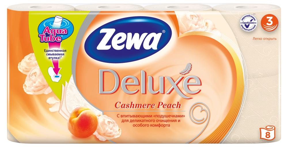Zewa Туалетная бумага Deluxe. Персик, трехслойная, цвет: оранжевый, 8 рулонов02.03.05.5363Подарите себе удовольствие от ежедневного ухода за собой. Zewa Deluxe с новыми впитывающими «подушечками» деликатно очищает и нежно заботится о вашей коже. Мягкость, Забота, Комфорт – вашей коже это понравится! Сенсация! Со смываемой втулкой Aqua Tube! Персиковая 3-х слойная туалетная бумага с ароматом персика 8 рулонов в упаковке Состав: целлюлоза Производство: Россия