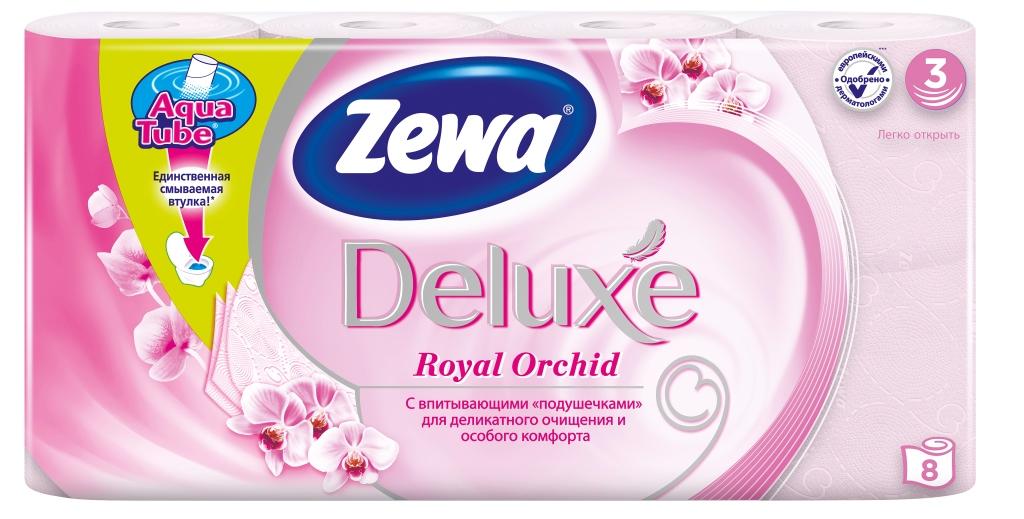 Zewa Туалетная бумага Deluxe. Орхидея, трехслойная, цвет: розовый, 8 рулонов02.03.05.5368Подарите себе удовольствие от ежедневного ухода за собой. Zewa Deluxe с новыми впитывающими «подушечками» деликатно очищает и нежно заботится о вашей коже. Мягкость, Забота, Комфорт – вашей коже это понравится! Сенсация! Со смываемой втулкой Aqua Tube! Розовая 3-х слойная туалетная бумага с ароматом орхидеи 8 рулонов в упаковке Состав: целлюлоза Производство: Россия