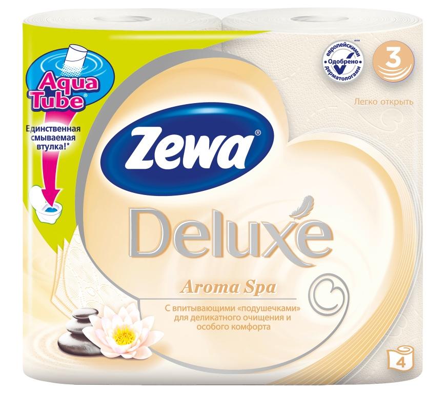 Туалетная бумага Zewa Deluxe Aroma Spa, трехслойная, цвет: бежевый, голубой, 4 рулона5361-50Подарите себе удовольствие от ежедневного ухода за собой. Zewa Deluxe с новыми впитывающими «подушечками» деликатно очищает и нежно заботится о вашей коже. Мягкость, Забота, Комфорт – вашей коже это понравится! Сенсация! Со смываемой втулкой Aqua Tube! 3-х слойная туалетная бумага цвета шампань с тонким ароматом ароматического масла 4 рулона в упаковке Состав: вторичное волокно Производство: Россия