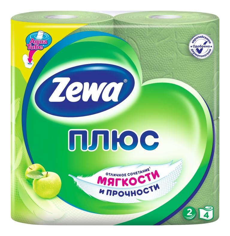 "Туалетная бумага ""Zewa Плюс. Яблоко"", ароматизированная, 4 рулона"