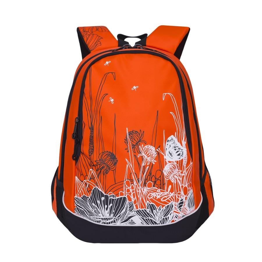 Рюкзак городской женский Grizzly, цвет: оранжевый. RD-756-3/5RD-756-3/5Рюкзак с двумя отделениями, с боковыми карманами из сетки, карманом-пеналом, с жесткой объемной спинкой с мягкими вставками, с анатомическими лямками, ручкой для переноски