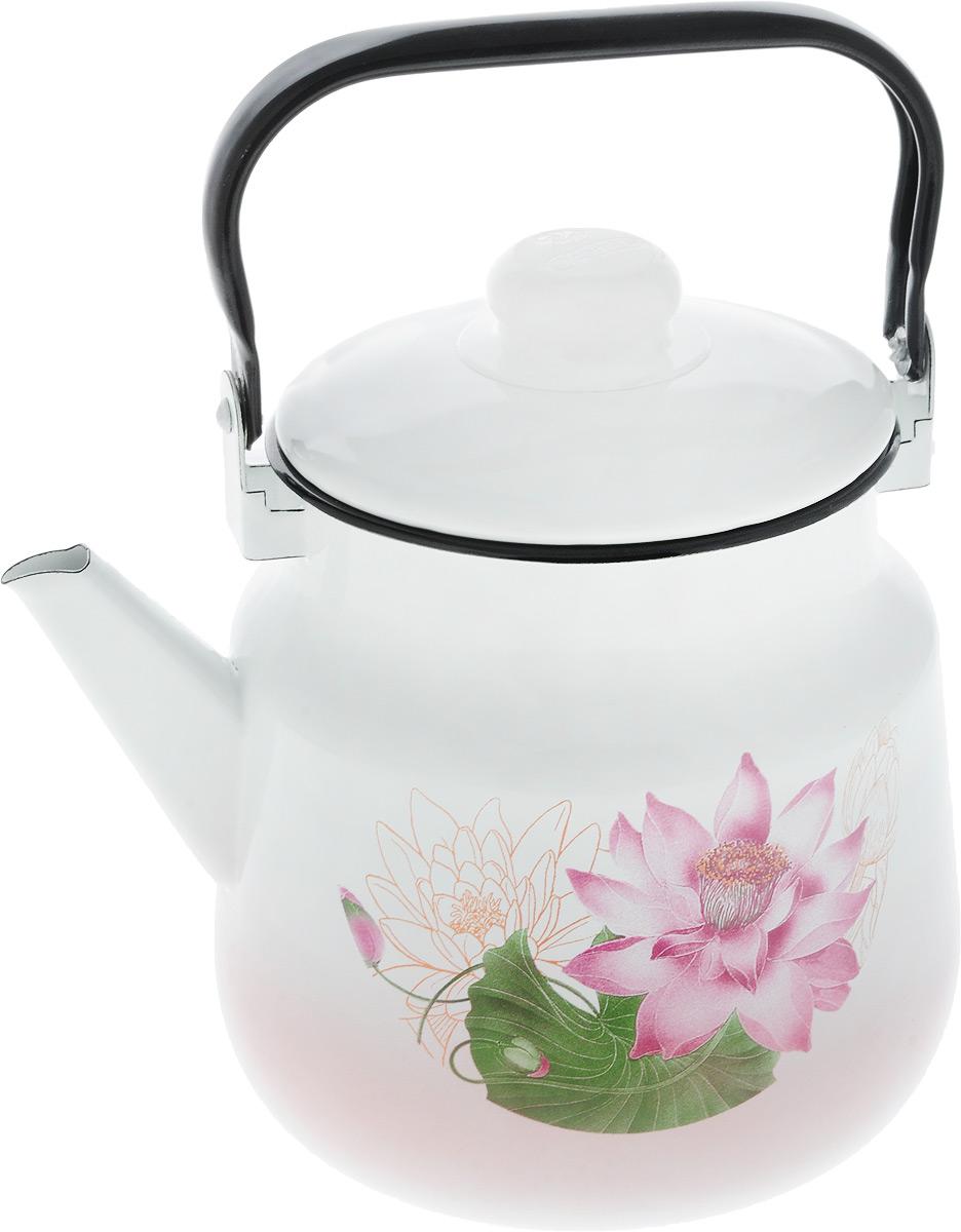 Чайник Эмаль, 3,5 л. 01-2713/601-2713/6_белый, розовый, зеленыйЧайник Эмаль выполнен из высококачественного стального проката, покрытого двумя слоями жаропрочной эмали. Такое покрытие защищает сталь от коррозии, придает посуде гладкую стекловидную поверхность и надежно защищает от кислот и щелочей. Чайник оснащен подвижной стальной ручкой и крышкой. Внешние стенки дополнены нежным цветочным принтом. Эстетичный и функциональный чайник будет оригинально смотреться в любом интерьере. Подходит для газовых, электрических, стеклокерамических, индукционных плит. Можно мыть в посудомоечной машине. Диаметр (по верхнему краю): 14,5 см. Высота чайника (без учета ручки и крышки): 17,5 см.
