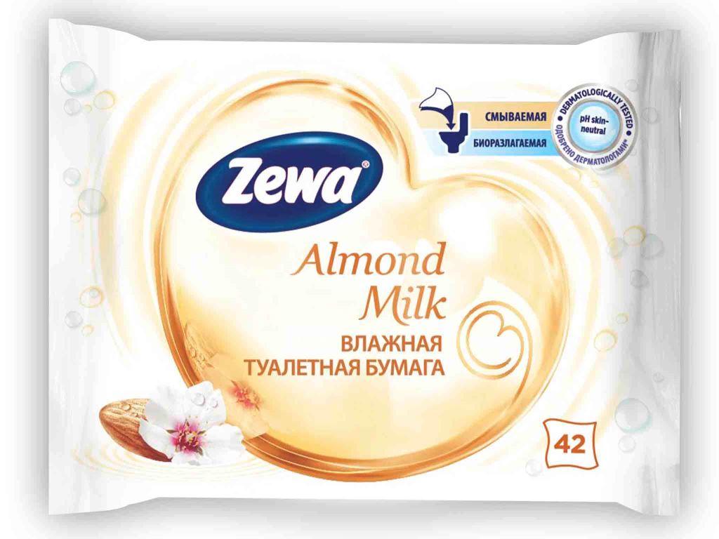 Влажная туалетная бумага Zewa Миндальное молочко, 42 шт6785Влажная туалетная бумага Zewa подарит вам ощущение чистоты и свежести. Она обеспечивает мягкое очищение, растворяется в воде и разлагается в природных условиях. Белая влажная туалетная бумага с ароматом миндального молочка 42 мягких влажных листка в упаковке Производство: Великобритания Смываемая, биоразлагаемая, одобрена дерматологами, PH-нейтральная для кожи