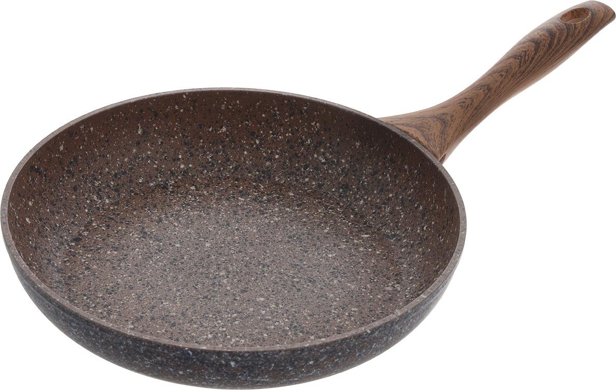 Сковорода Fissman Magic Brown, с антипригарным покрытием. Диаметр 26 смAL-4332.26Сковорода Fissman Magic Brown изготовлена из алюминия с многослойным антипригарным покрытием EcoStone, состоящего из нескольких слоев натуральной каменной крошки на основе минеральных компонентов. Такое покрытие долговечно и безопасно для здоровья и окружающей среды, оно обладает великолепными антипригарными свойствами. Сковорода оснащена удобной бакелитовой ручкой, которая не нагревается в процессе приготовления пищи и не скользит в мокрых руках. Сковорода Fissman Magic Brown создана, чтобы удовлетворить потребности самых взыскательных кулинаров и профессиональных шеф-поваров. Подходит для использования на газовых, электрических и стеклокерамических плитах, а также на индукционных. Можно мыть в посудомоечной машине. Высота стенки: 5 см. Длина ручки: 20 см.