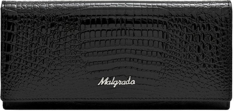 Кошелек женский Malgrado, цвет: черный. 72076-4672076-46Женский кошелек Malgrado выполнен из натуральной лаковой кожи высшего качества с декоративным тиснением под рептилию. Внутри кошелек содержит шесть отделений для купюр, отделение для мелочи на молнии, два кармана из кожи для бумаг и чеков, четыре кармашка для кредитных карт или визиток, карман с окошком из прозрачного пластика. Закрывается кошелек широким клапаном на кнопку. На задней стенке с лицевой стороны расположен дополнительный карман на застежке-молнии. Кошелек упакован в фирменную металлическую коробку. Характеристики: Материал: натуральная кожа, текстиль, металл. Цвет: черный. Размер кошелька: 18,5 см х 9 см х 3,5 см. Размер упаковки: 23 см х 12,5 см х 4,5 см. Артикул: 72076-46.