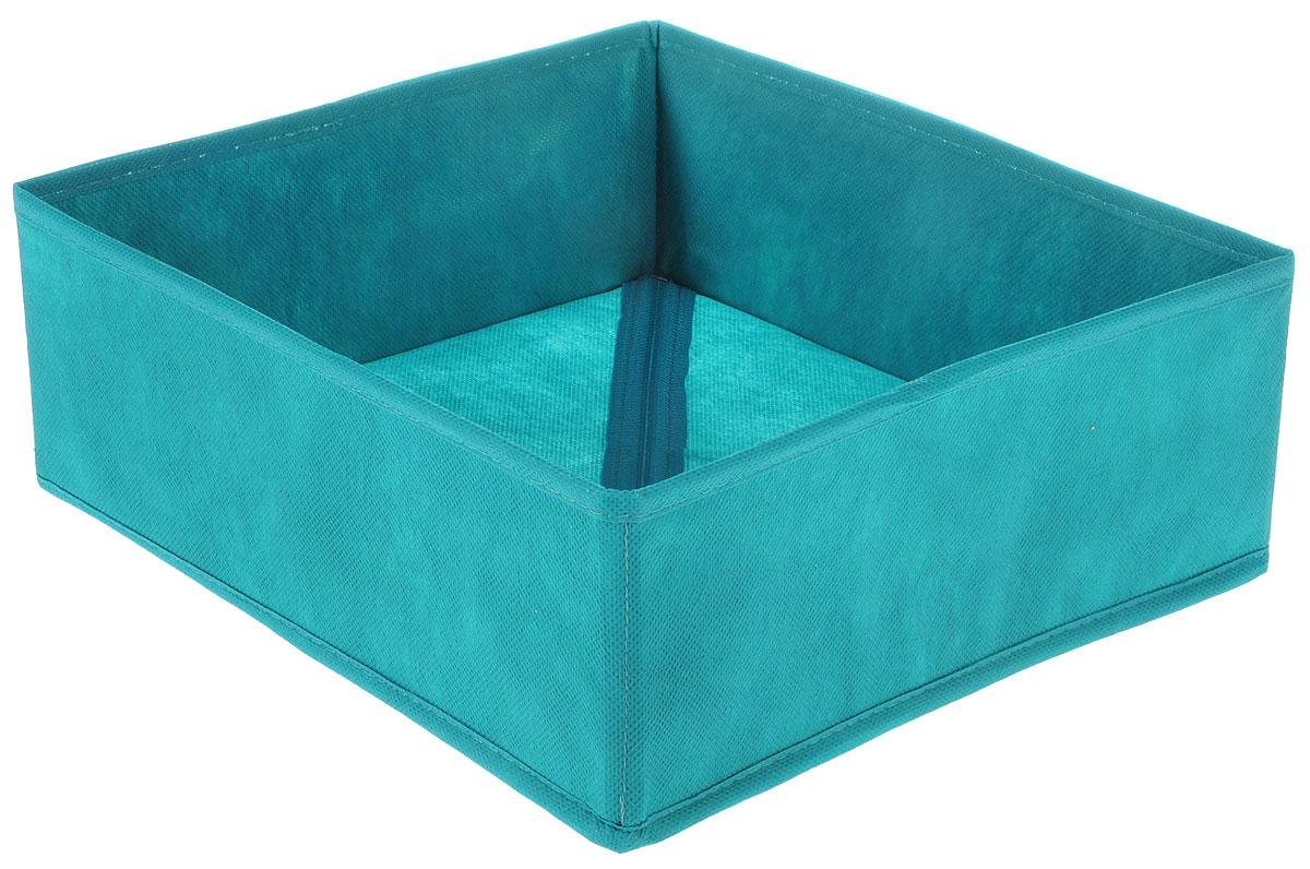 Органайзер Все на местах Minimalistic, цвет: бирюзовый, 32 х 32 х 11 см1012055Органайзер поможет удобно хранить вещи. Изделие выполнено из высококачественного нетканого материала, который обеспечивает естественную вентиляцию, позволяя воздуху проникать внутрь, но не пропускает пыль. Вставки из ПВХ хорошо держат форму. Изделие содержит одну большую секцию. Органайзер легко раскладывается и складывается. Оригинальный дизайн придется по вкусу ценителям эстетичного хранения. Размер органайзера в разложенном виде: 32 х 32 х 11 см.