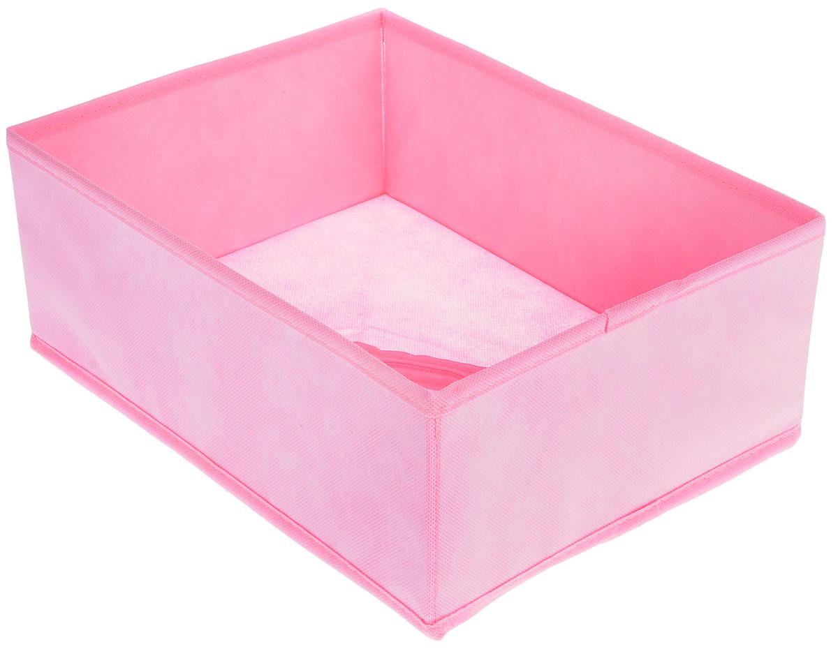 Органайзер Все на местах Minimalistic, цвет: розовый, 30 х 24 х 11 см1014057Органайзер поможет удобно хранить вещи. Изделие выполнено из высококачественного нетканого материала, который обеспечивает естественную вентиляцию, позволяя воздуху проникать внутрь, но не пропускает пыль. Вставки из ПВХ хорошо держат форму. Изделие содержит одну большую секцию. Органайзер легко раскладывается и складывается. Оригинальный дизайн придется по вкусу ценителям эстетичного хранения. Размер органайзера в разложенном виде: 32 х 24 х 11 см.