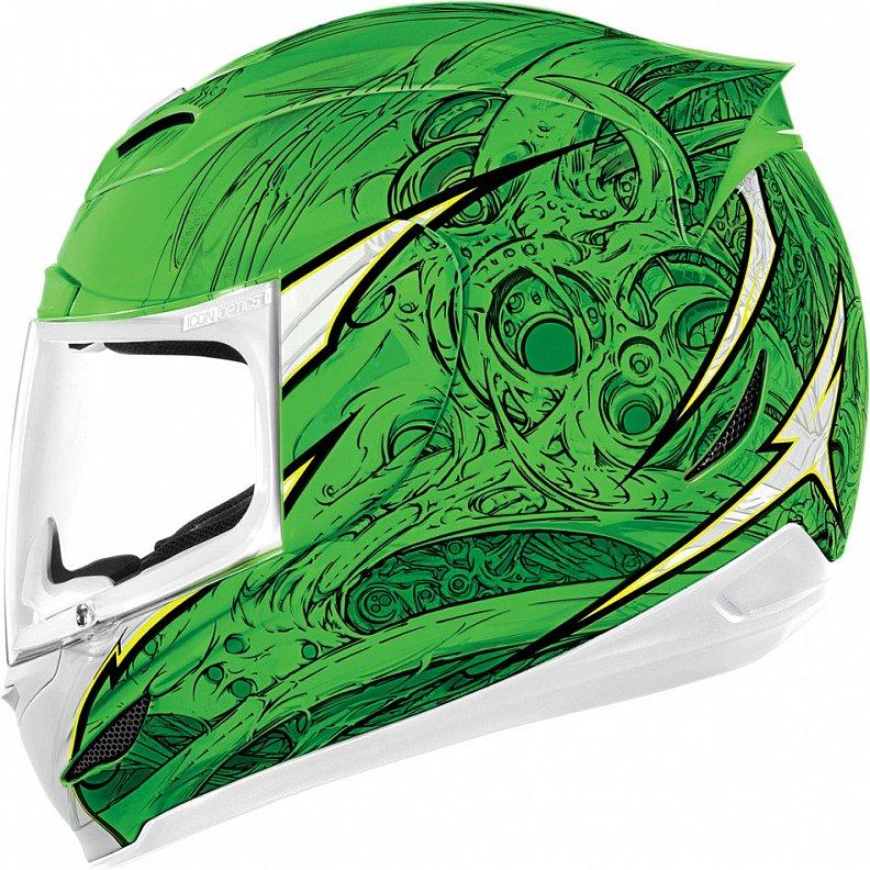Мотошлем Icon Airmada Sportbike SB1, цвет: зеленый. 0101. Размер M0101-6059Отличное сочетание функциональности и стиля. Этот шлем прекрасно подойдет как для городской езды, так и для спортивных заездов на треке. За основу взят литойполикарбонатный корпус. С точки зрения аэродинамики, посадки, вентиляции и комфорта – это совершенно новая модель шлема. Вентиляция так же была улучшена. Теперь у нас 7 каналов для впуска свежего воздуха, и 6 портов для выпуска. Как и в предыдущих моделях, мы имеем каналы в ротовой области, а так же два боковых порта, которые регулируются в нескольких положениях с внутренней стороны шлема. Выше имеется десятимиллиметровый двойной канал, который, как и прежде удобно контролировать – в закрытом или открытом положении. И одна из новинок находится поблизости – двойной регулировочный порт, который в дополнение ко всем предыдущим, направляет потоки свежего непосредственно на лобную часть водителя. Соответственно, горячий воздух выходит через задние порты - два сверху, два по бокам и два с нижней стороны. Еще одним нововведением является...