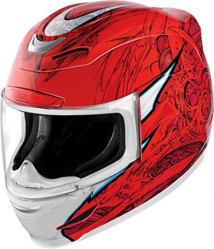 Мотошлем Icon Airmada Sportbike SB1, цвет: красный. 0101. Размер XXL0101-6076Отличное сочетание функциональности и стиля. Этот шлем прекрасно подойдет как для городской езды, так и для спортивных заездов на треке. За основу взят литойполикарбонатный корпус. С точки зрения аэродинамики, посадки, вентиляции и комфорта – это совершенно новая модель шлема. Вентиляция так же была улучшена. Теперь у нас 7 каналов для впуска свежего воздуха, и 6 портов для выпуска. Как и в предыдущих моделях, мы имеем каналы в ротовой области, а так же два боковых порта, которые регулируются в нескольких положениях с внутренней стороны шлема. Выше имеется десятимиллиметровый двойной канал, который, как и прежде удобно контролировать – в закрытом или открытом положении. И одна из новинок находится поблизости – двойной регулировочный порт, который в дополнение ко всем предыдущим, направляет потоки свежего непосредственно на лобную часть водителя. Соответственно, горячий воздух выходит через задние порты - два сверху, два по бокам и два с нижней стороны. Еще одним нововведением является...