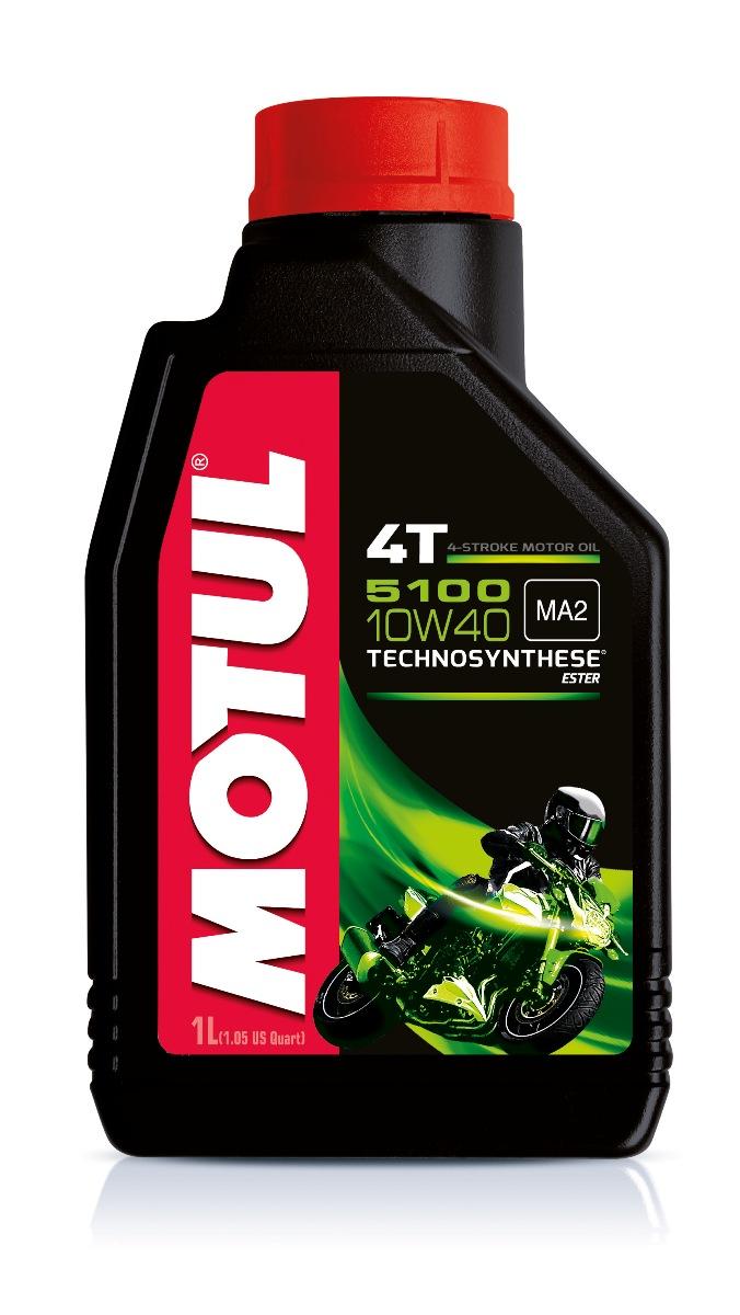Масло моторное Motul 5100 4T. Technosynthese, синтетическое, 10W-40, 1 л104066Моторное масло для 4-х тактных мотоциклов. Создано по технологии сложных эфиров (эстеров), Technosynthese . Улучшенная стойкость масляной пленки обеспечивает защиту двигателя и коробки переключения передач, а также плавное переключение. Соответствует требованиям Jaso Ma2, что обеспечивает четкость работы сцепления в масляной ванне. Совместимо с системами нейтрализации отработавших газов. API Стандарты: API SG/SH/SJ/SL/SM JASO Стандарты: JASO MA2 M033MOT112