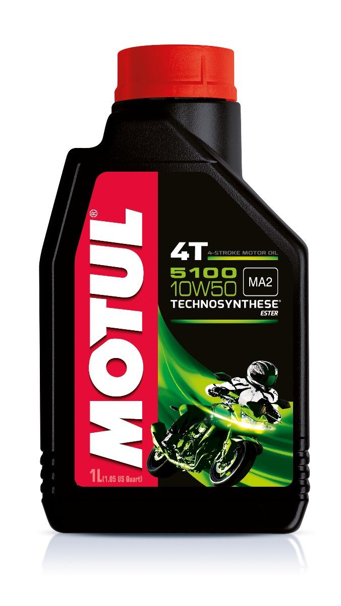 Масло моторное Motul 5100 4T, синтетическое, 10W-50, 1 л104074Моторное масло для 4-х тактных мотоциклов. Создано по технологии сложных эфиров (эстеров), Technosynthese . Улучшенная стойкость масляной пленки обеспечивает защиту двигателя и коробки переключения передач, а также плавное переключение. Устойчивость при высоких температурах. Соответствует требованиям Jaso Ma2, что обеспечивает четкость работы сцепления в масляной ванне. Совместимо с системами нейтрализации отработавших газов. API Стандарты: API SG/SH/SJ/SL/SM JASO Стандарты: JASO MA2 M033MOT113