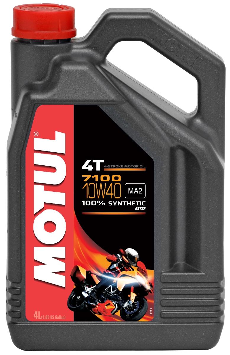 Масло моторное Motul 7100 4T, синтетическое, 10W-40, 4 л104092100% синтетическое моторное масло для 4-х тактных мотоциклов. Создано по технологии сложных эфиров (эстеров). Соответствует требованиям производителей мотоциклов. Превосходная стойкость масляной пленки обеспечивает защиту двигателя и коробки переключения передач, а также плавное переключение. Соответствует требованиям JASO MA2, что обеспечивает четкость работы сцепления в масляной ванне. Совместимо с системами нейтрализации отработавших газов. API Стандарты: API SG/SH/SJ/SL/SM/SN JASO Стандарты: JASO MA2 M033MOT117