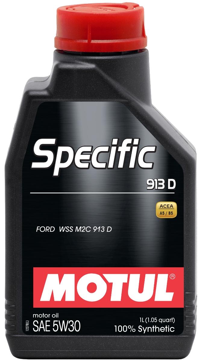 Масло моторное Motul Specific 913D, синтетическое, 5W-30, 1 л104559100% синтетическое энергосберегающее масло для всех дизельных и некоторых бензиновых (см. техническую документацию) двигателей FORD. Одобрение FORD WSS M2C 913 D перекрывает большинство двигателей, требующих моторное масло с допуском FORD WSS M2C 913 A, 913 B и 913 C. ACEA Стандарты: ACEA A5/B5