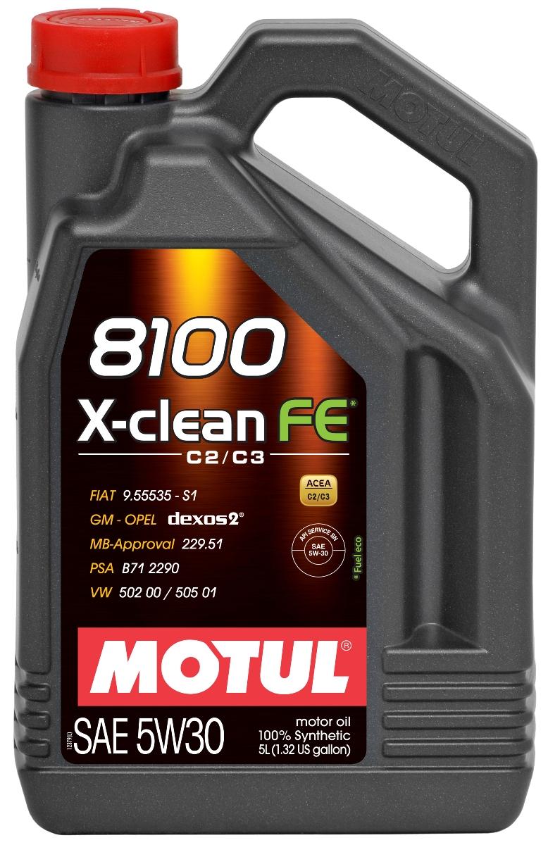 Масло моторное Motul 8100 X-Clean, синтетическое, 5W-30, 5 л104777100% синтетическое моторное масло со сниженным содержанием сульфатной золы (?0,8%), фосфора (0.07%-0.09%), серы (?0.3%) - Mid SAPS. Специально разработано для обеспечения высоких защитных свойств и топливной экономичности. Применяется для последнего поколения бензиновых и дизельных двигателей, отвечающих требованиям норм Евро IV и Евро V, которые оснащаются каталитическим нейтрализатором или сажевым фильтром (DPF). Соответствует требованиям PSA B71 2290 и GM-OPEL dexos2. ACEA Стандарты: ACEA C2 / C3 API Стандарты: API SERVICES SN / CF Одобрения: GM-OPEL dexos2; MB-Approval 229.51; PSA B71 2290; VW 502 00 / 505 01; FIAT 9.55535-S1 / S3