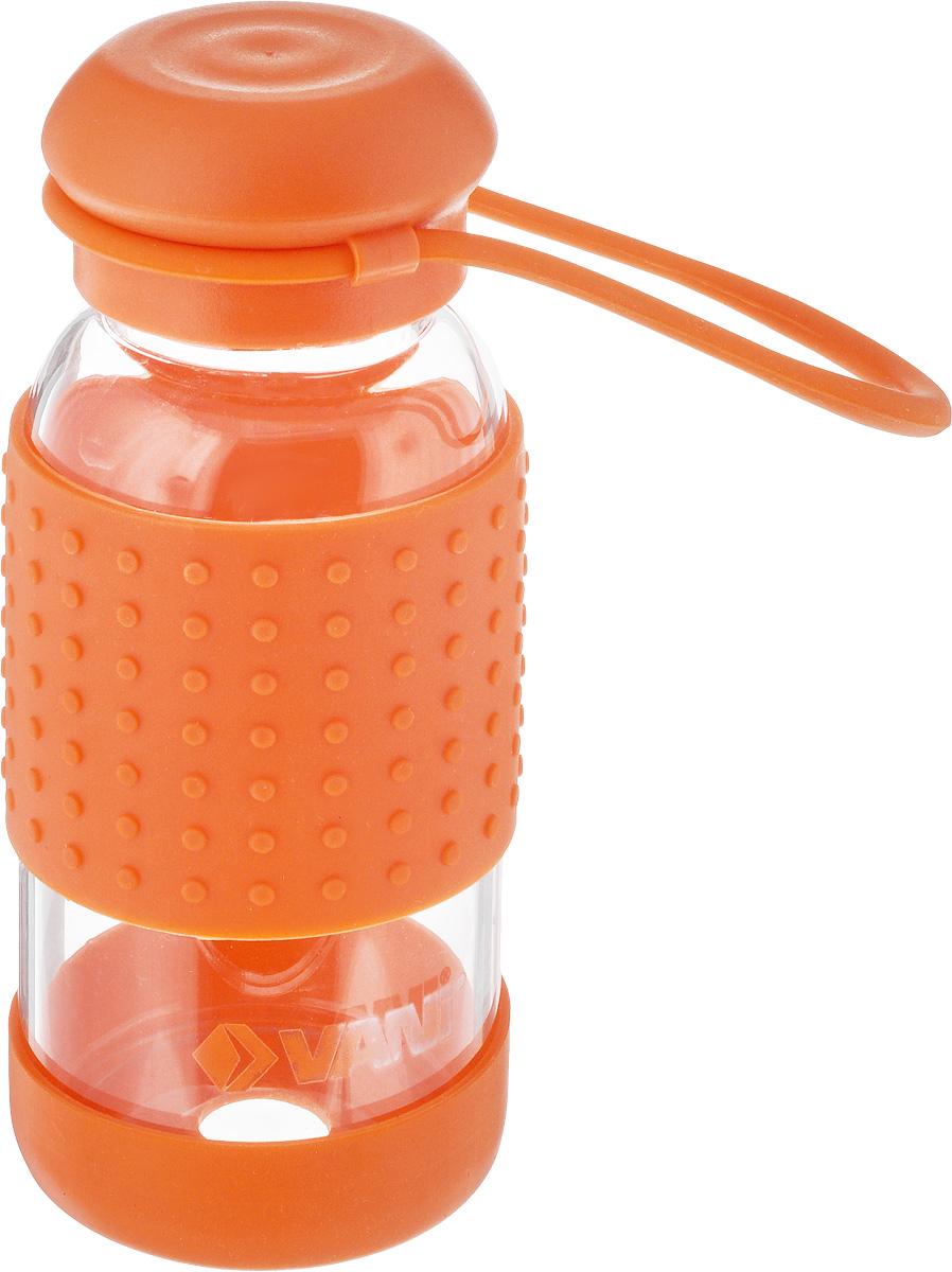 Бутылка для воды VANI, цвет: оранжевый, 360 млVF130_оранжевыйМногоразовая бутылка для воды Vani пригодится в спортзале, на прогулке, дома и на даче. Бутылка выполнена из высококачественного упрочненного стекла, она способна выдержать температуру от -20 до 100°С. Имеет силиконовую ручку для переноски. Крышка изготовлена из пищевого пластика, нержавеющей стали и силиконового кольца. Герметично закрывается. Силиконовые вставки на стекле предохраняют от ожогов и скольжения в руках. Диаметр горлышка: 4 см. Высота бутылки (с учетом крышки): 15,8 см. Диаметр дна: 6,5 см.