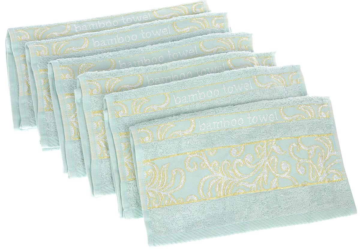 Набор полотенец Brielle Bamboo. Jacquard, цвет: мятный, 30 х 50 см, 6 шт1211Полотенца ТАС Приятно удивляют и дают возможность почувствовать себя творцом окружающего декора. Махровая ткань – официальное название «фроте», народное – «махра». Фроте – это натуральная ткань, поверхность которой состоит из ворса (петель основных нитей). Ворс может быть как одинарным (односторонним), так и двойным (двусторонним).