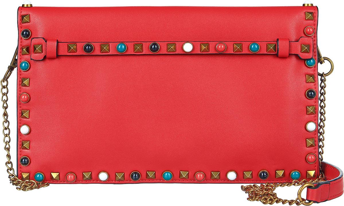 Клатч женский OrsOro, цвет: красный. D-020/3D-020/3Клатч OrsOro декорирован металлическими клепками и имеет два отделения с карманом между ними, которые прикрыты клапаном на магнитной кнопке. В первом отделении имеется прорезной кармашек на молнии. Клатч так же может быть использован как сумка, благодаря пристегивающемуся на карабинах ремню с элементами цепочки.