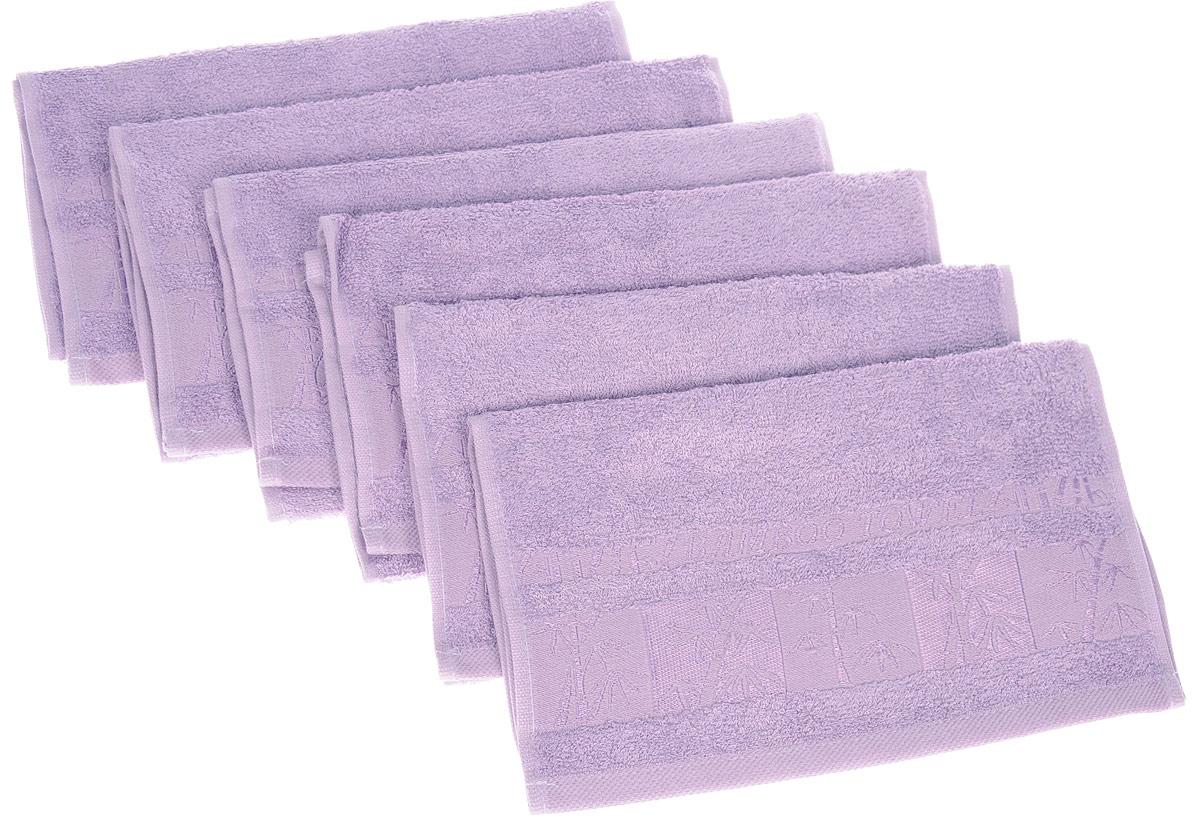 Набор полотенец Brielle Bamboo, цвет: лиловый, 30 х 50 см, 6 шт1211Полотенца ТАС Приятно удивляют и дают возможность почувствовать себя творцом окружающего декора. Махровая ткань – официальное название «фроте», народное – «махра». Фроте – это натуральная ткань, поверхность которой состоит из ворса (петель основных нитей). Ворс может быть как одинарным (односторонним), так и двойным (двусторонним).