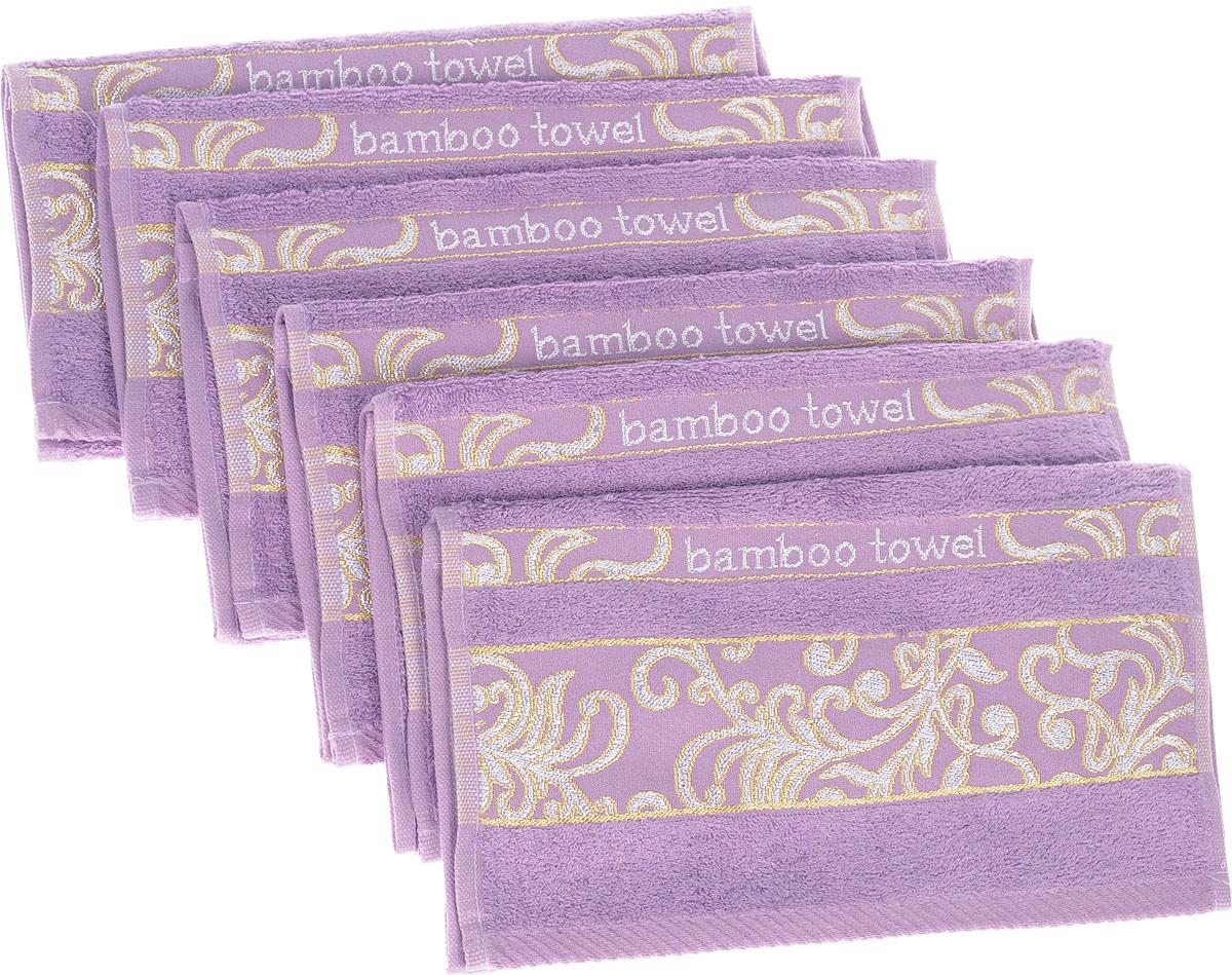 Набор полотенец Brielle Bamboo. Jacquard, цвет: лиловый, 30 х 50 см, 6 шт1211Полотенца ТАС Приятно удивляют и дают возможность почувствовать себя творцом окружающего декора. Махровая ткань – официальное название «фроте», народное – «махра». Фроте – это натуральная ткань, поверхность которой состоит из ворса (петель основных нитей). Ворс может быть как одинарным (односторонним), так и двойным (двусторонним).