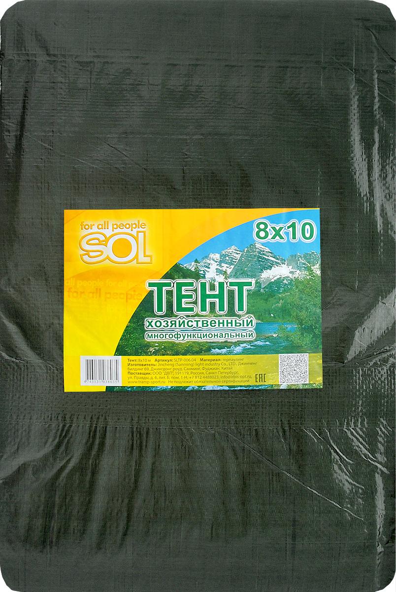 Тент терпаулинг Sol, цвет: зеленый, 8х10м. SLTP-006.04SLTP-006.04Размер: 8х10м Тенты многофункциональные изготовлены из водонепроницаемого материала. По краю пропущен усиливающий капроновый шпагат и установлены металлические люверсы. В зависимости от размера имеет как бытовое, так и промышленное назначение