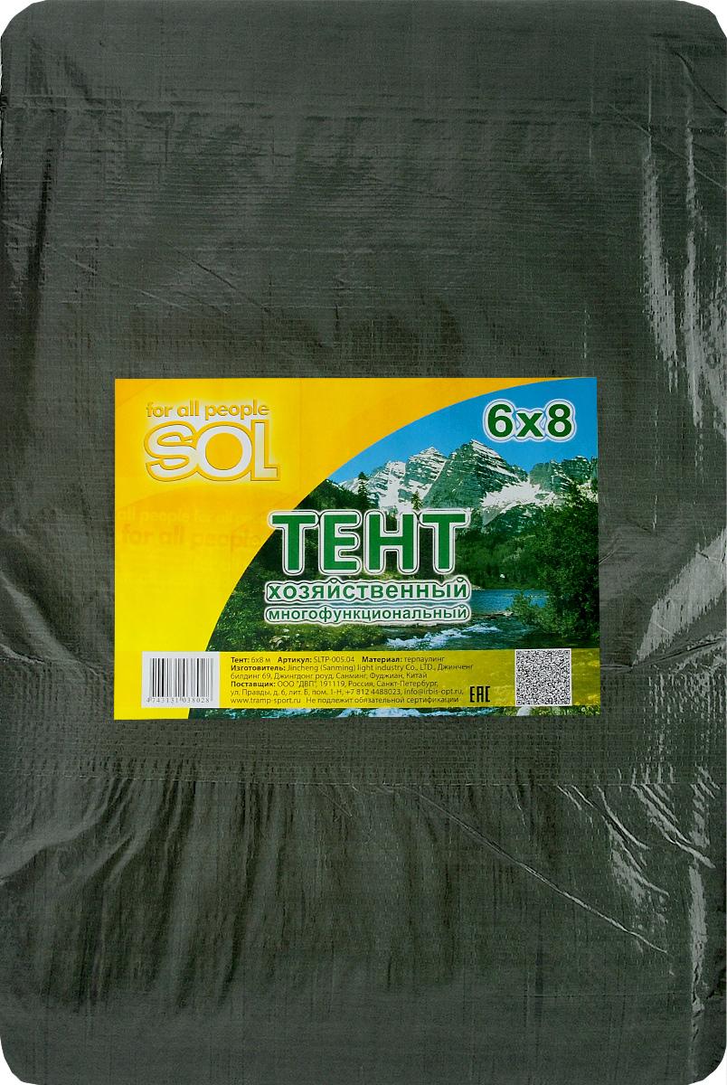 Тент терпаулинг Sol, цвет: темно-зеленый, 6 х 8 мSLTP-005.04Тент терпаулинг Sol изготовлен из высокосортного водонепроницаемого полиэтиленового сырья. По краю пропущен усиливающий капроновый шпагат и установлены металлические люверсы, благодаря которым тент можно монтировать на каркасную основу или использовать для свободного укрытия объектов. Тент используется для укрытия стройматериалов от дождя и снега, для сооружения временных навесов, для закрытия оконных проемов, для укрытия грузов, прицепов, автомашин, в качестве навесов, палаток, подстилок в походах, на отдыхе. Размер: 6 х 8 м.