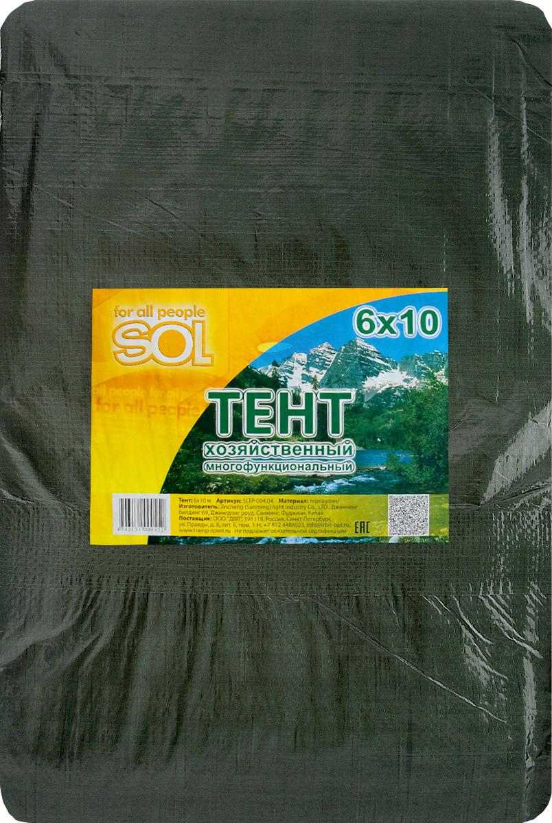 Тент терпаулинг Sol, цвет: темно-зеленый, 6 х 10 мSLTP-004.04Тент терпаулинг Sol изготовлен из высокосортного водонепроницаемого полиэтиленового сырья. По краю пропущен усиливающий капроновый шпагат и установлены металлические люверсы, благодаря которым тент можно монтировать на каркасную основу или использовать для свободного укрытия объектов. Тент используется для укрытия стройматериалов от дождя и снега, для сооружения временных навесов, для закрытия оконных проемов, для укрытия грузов, прицепов, автомашин, в качестве навесов, палаток, подстилок в походах, на отдыхе. Размер: 6 х 10 м.