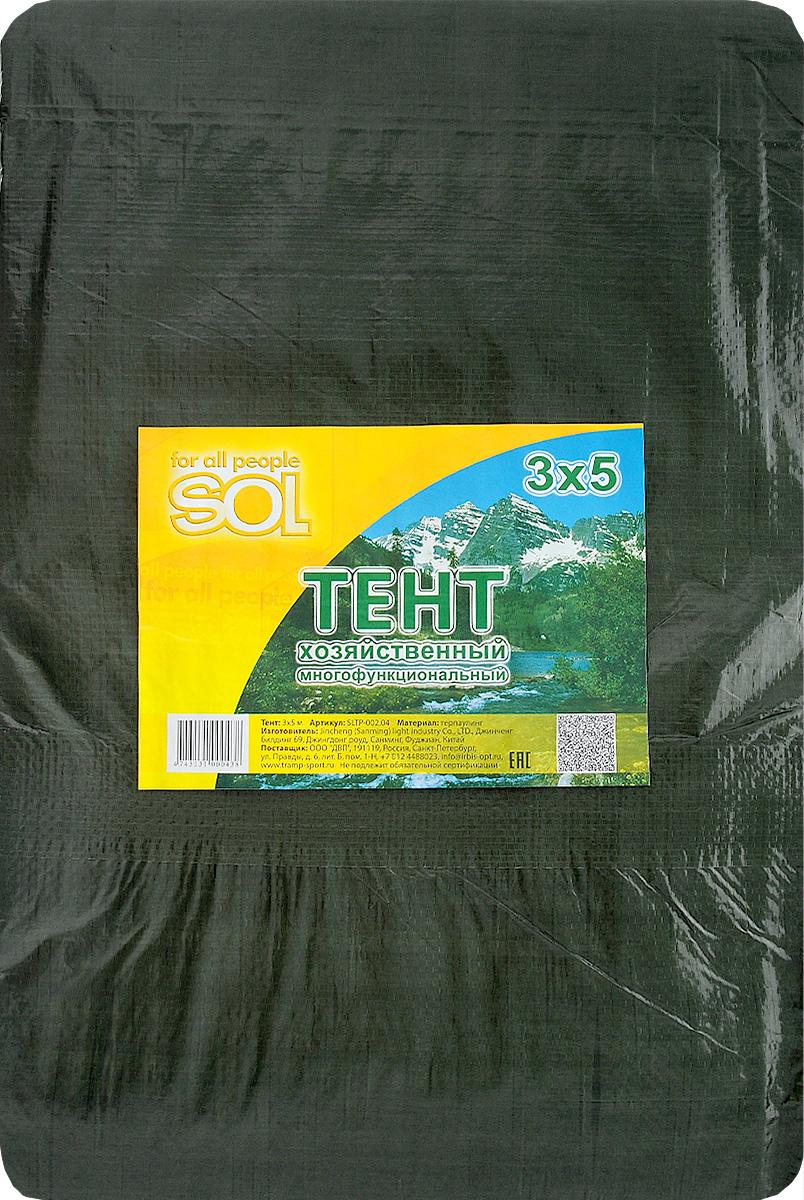 Тент терпаулинг Sol, цвет: темно-зеленый, 3 х 5 мSLTP-002.04Тент терпаулинг Sol изготовлен из высокосортного водонепроницаемого полиэтиленового сырья. По краю пропущен усиливающий капроновый шпагат и установлены металлические люверсы, благодаря которым тент можно монтировать на каркасную основу или использовать для свободного укрытия объектов. Тент используется для укрытия стройматериалов от дождя и снега, для сооружения временных навесов, для закрытия оконных проемов, для укрытия грузов, прицепов, автомашин, в качестве навесов, палаток, подстилок в походах, на отдыхе. Размер: 3 х 5 м.