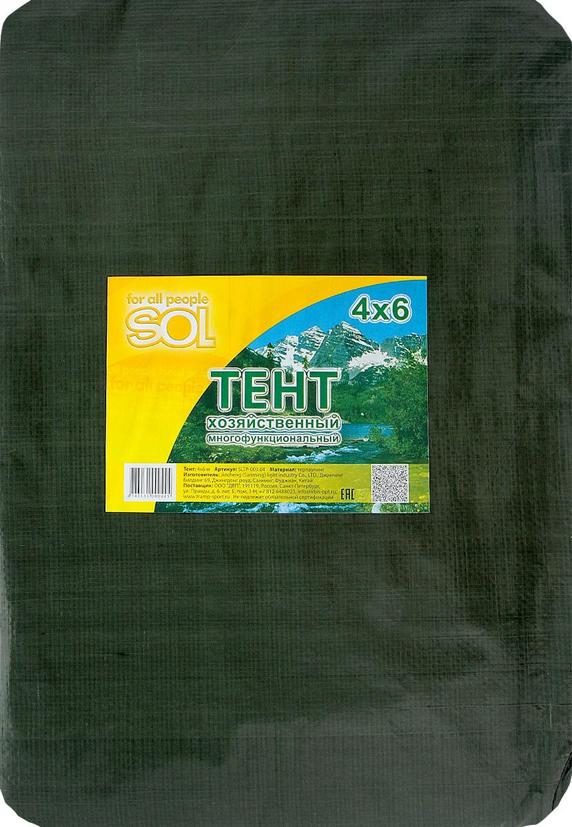Тент терпаулинг Sol, цвет: темно-зеленый, 4 х 6 мSLTP-003.04Тент терпаулинг Sol изготовлен из высокосортного водонепроницаемого полиэтиленового сырья. По краю пропущен усиливающий капроновый шпагат и установлены металлические люверсы, благодаря которым тент можно монтировать на каркасную основу или использовать для свободного укрытия объектов. Тент используется для укрытия стройматериалов от дождя и снега, для сооружения временных навесов, для закрытия оконных проемов, для укрытия грузов, прицепов, автомашин, в качестве навесов, палаток, подстилок в походах, на отдыхе. Размер: 4 х 6 м.