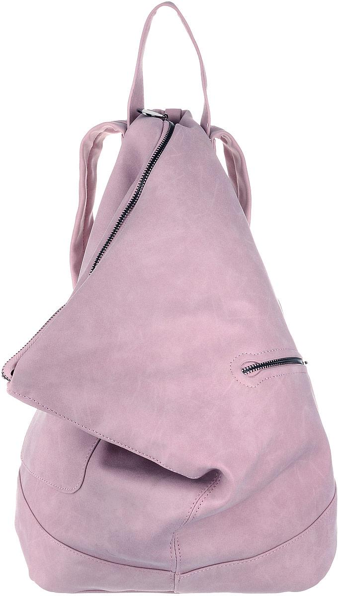 Рюкзак женский OrsOro, цвет: розовый. D-263/2D-263/2Рюкзак выполнен из высококачественной искусственной кожи и оформлен декоративными клепками со вставками. Изделие оснащено ручкой для подвешивания и удобными лямками, длину которых можно изменять с помощью пряжек. На лицевой стороне расположен один накладной открытый карман и вшитый карман на молнии. Изделие закрывается с помощью молнии. Внутри расположено главное вместительное отделение, которое содержит два небольших кармана на молнии и три открытых кармана для телефона и мелочей.