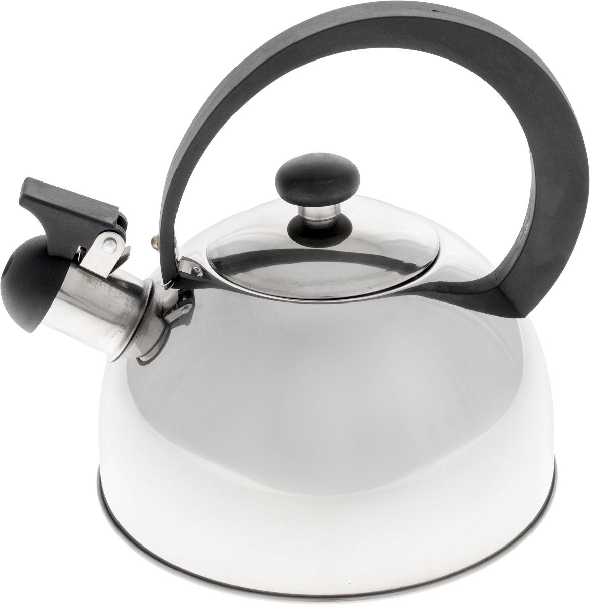 Чайник Добрыня, со свистком, 2 л. DO-2909DO-2909Чайник со свистком Добрыня изготовлен из высококачественной нержавеющей стали, что обеспечивает долговечность использования. Носик чайника оснащен откидным свистком, звуковой сигнал которого подскажет, когда закипит вода. Ручка, изготовленная из бакелита, не нагревается и сможет уберечь ваши руки от контакта с высокими температурами. Чайник Добрыня - качественное исполнение и стильное решение для вашей кухни. Подходит для использования на всех типах плит, кроме индукционных. Можно мыть в посудомоечной машине. Высота чайника (с учетом ручки и крышки): 19 см. Диаметр чайника (по верхнему краю): 8,5 см. Диаметр основания: 18 см. Высота стенки: 10 см.