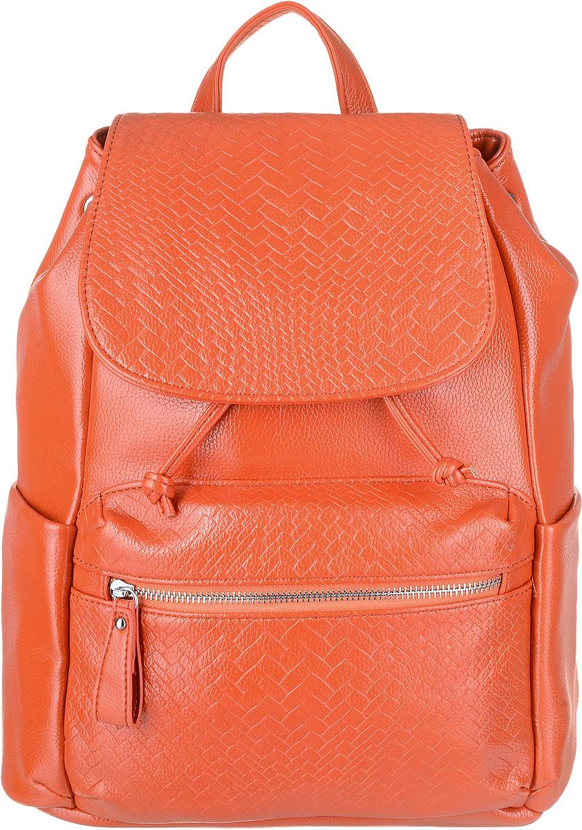 Рюкзак женский OrsOro, цвет: оранжевый. D-264/2D-264/2Рюкзак OrsOro изготовлен из прочной экокожи и имеет одно вместительное отделение на затяжках с дополнительным фиксатором на кнопке а так же с клапаном на магнитной кнопке. Так же в отделении присутствуют два накладных кармашка под сотовый телефон или для мелочей, один прорезной карман на застежке-молнии, один накладной карман с дополнительным карманом на молнии на его стенке. Рюкзак обладает удобной ручкой сверху для переноски и двумя упрочненными регулируемыми плечевыми ремнями-лямками. Снаружи, спереди и сзади, имеются два кармашка на молнии, по бокам находятся накладные кармашки.