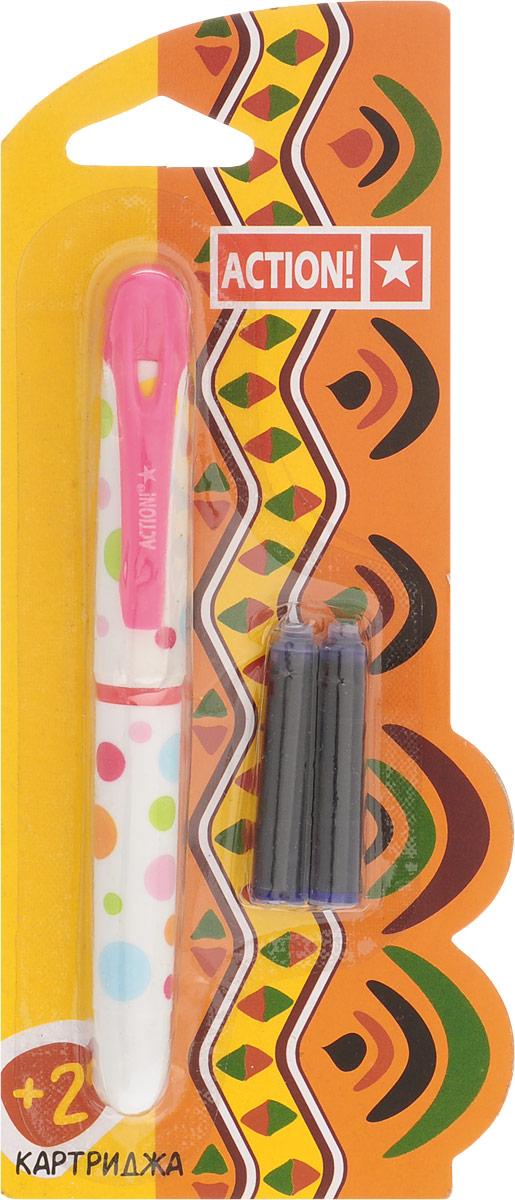 Action! Ручка перьевая с двумя картриджами цвет корпуса розовый AFP1001AFP1001_розовыйПерьевая ручка, несомненно, заинтересует ребенка, мечтающего о взрослых предметах письма, а также поможет выработать навыки каллиграфии и исправить хромающий почерк. Перьевая ручка Action! с запасными картриджами отличается от взрослых ручек широким пластиковым корпусом, эргономичной зоной гриппа. В комплекте три чернильных картриджа - один в ручке и два запасных в блистерном отсеке.