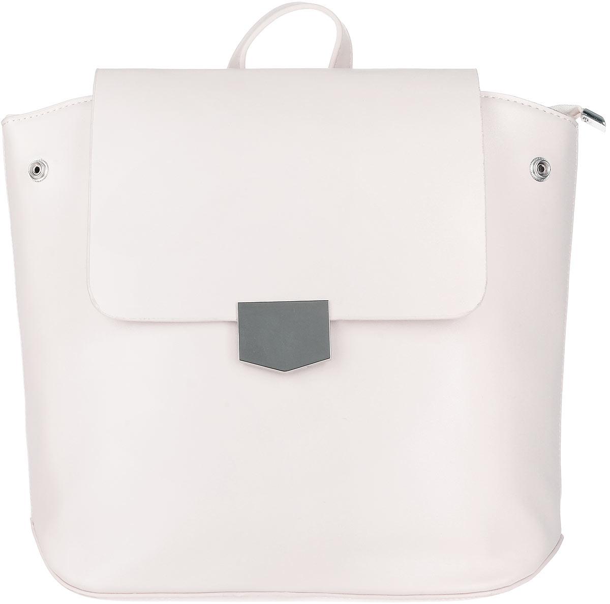 Рюкзак женский OrsOro, цвет: топленое молоко. D-262/3D-262/3Элегантный рюкзак OrsOro исполнен из экокожи высокого качества. Имеет одно вместительное отделение прикрытое клапаном на магнитной кнопке и под ним застегивающийся на молнию. Так же в отделении присутствуют два накладных кармашка под сотовый телефон или для мелочей и один прорезной карман на застежке-молнии. Рюкзак обладает удобной ручкой сверху для переноски и двумя регулируемыми плечевыми ремнями-лямками на карабинах. По бокам рюкзака имеются четыре кнопки благодаря которым можно регулировать форму рюкзака от прямоугольной до трапецевидной.