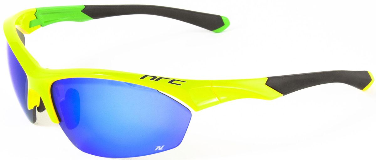Очки солнцезащитные NRC, цвет: желый. 2101421014Бренд NRC представляет очки, предназначенные как для езды на велосипеде, так и для многих других видов спорта. NRC известен собственными фирменными разработками, адаптирующими очки под разные климатические условия, различное время суток, степень освещенности, а также под индивидуальные потребности каждого конкретного пользователя. Очки блестящие(глянцевые) желто-зеленые Синие зеркальные линзы Материал оправы – нейлон (TR90) Оправа - регулируемые носоупоры и дужки, возможность использовать одновременно с обычными (рецептурными) очками Материал линзы - поликарбонат (РС) Покрытие –защитное от царапин, антибликовое, антизапотевающее, зеркальное Прозрачность -18% Категория фильтра -3 Вес -28,1 г Кривизна (изгиб) - 8