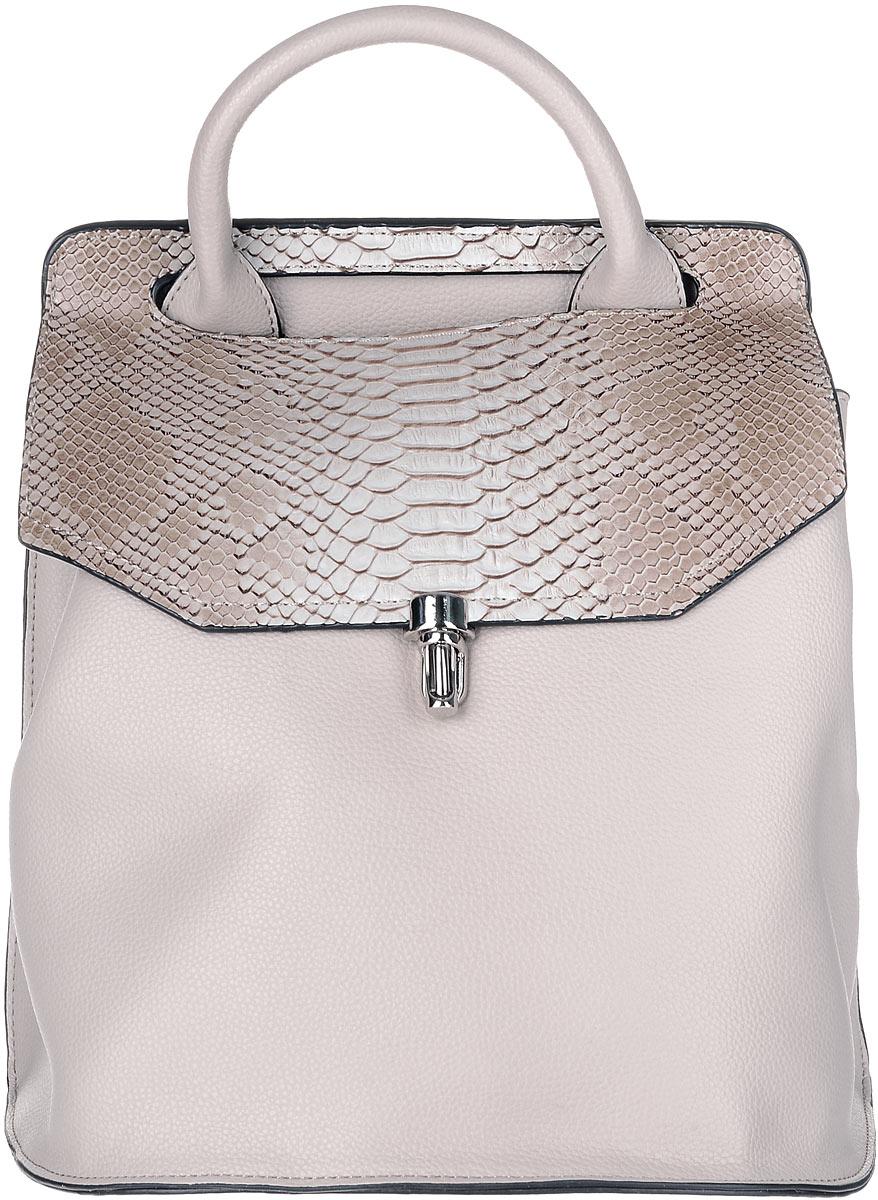 Рюкзак женский OrsOro, цвет: бежевый, коричневый. D-258/3D-258/3Рюкзак OrsOro исполнен из экокожи высокого качества. Имеет одно вместительное отделение прикрытое клапаном на застежке, разграниченное надвое карманом-разделителем на молнии. Так же в отделении присутствуют два накладных кармашка под сотовый телефон или для мелочей и один прорезной карман на застежке-молнии. Рюкзак обладает удобной ручкой сверху для переноски и двумя отстегивающимися плечевыми ремнями-лямками на карабинах.