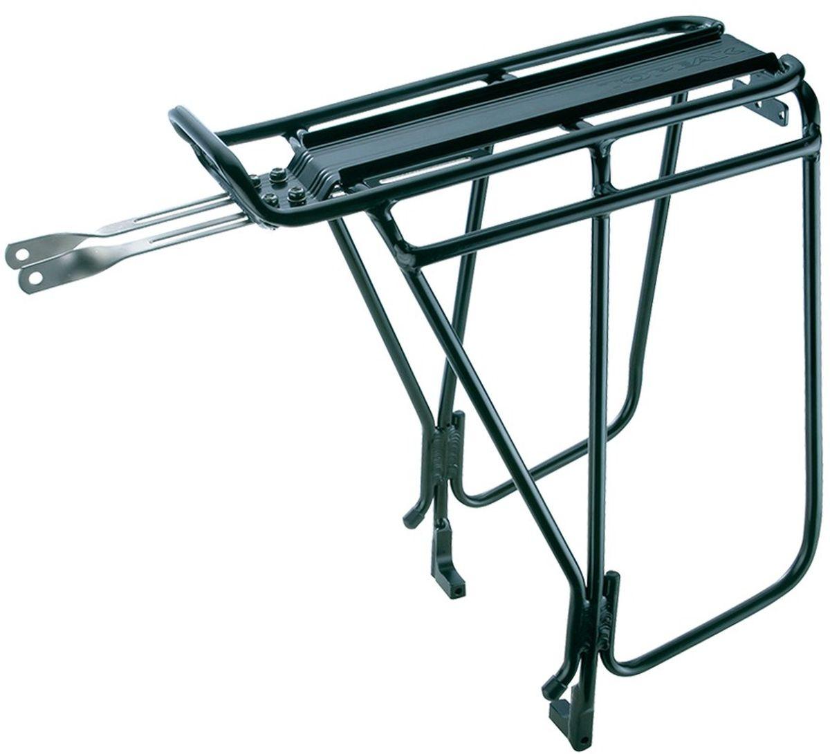 Багажник задний TOPEAK Super Tourist DX Tubular Rack, с держателями боковых сумок, для дисковых тормозовTA2036-BПодходит для колес 26 , 27,5 (650B) и 700C с дисковыми тормозами. Самая жесткий алюминиевый багажник, предназначенная для тяжелых и длительных поездок. Специально разработан для велосипедов, оснащенных дисковыми тормозами. Встроенная боковая панель обеспечивает более низкую точку прикрепления к корзине, что позволяет увеличить пространство для груза на верхней части стойки. QuickTrack совместим для использования с любым багажным модулем MTX.