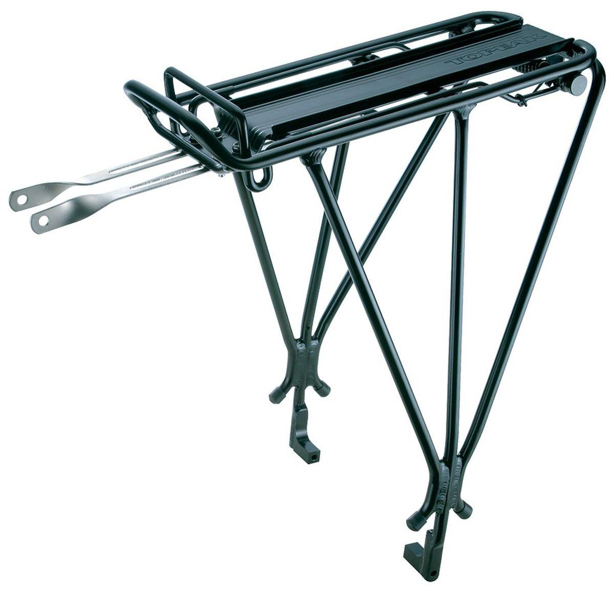 Багажник задний для дисковых тормозов TOPEAK Explorer Tubular Rack, с прищепкой, цвет: черныйTA2037-BПодходит для колес 26 , 27,5 (650B) и 700C. Колеса с дисковыми тормозами. Прочный алюминиевый багажник, спроектированный специально для велосипедов, оснащенных дисковыми тормозами. Идеальный спутник для классических велопоходов, поездок на работу или просто выполнения поручений. QuickTrack совместим для использования с любой сумкой MTX и задней корзиной. Встроенная пружинная защелка удобна для закрепления легкого груза.