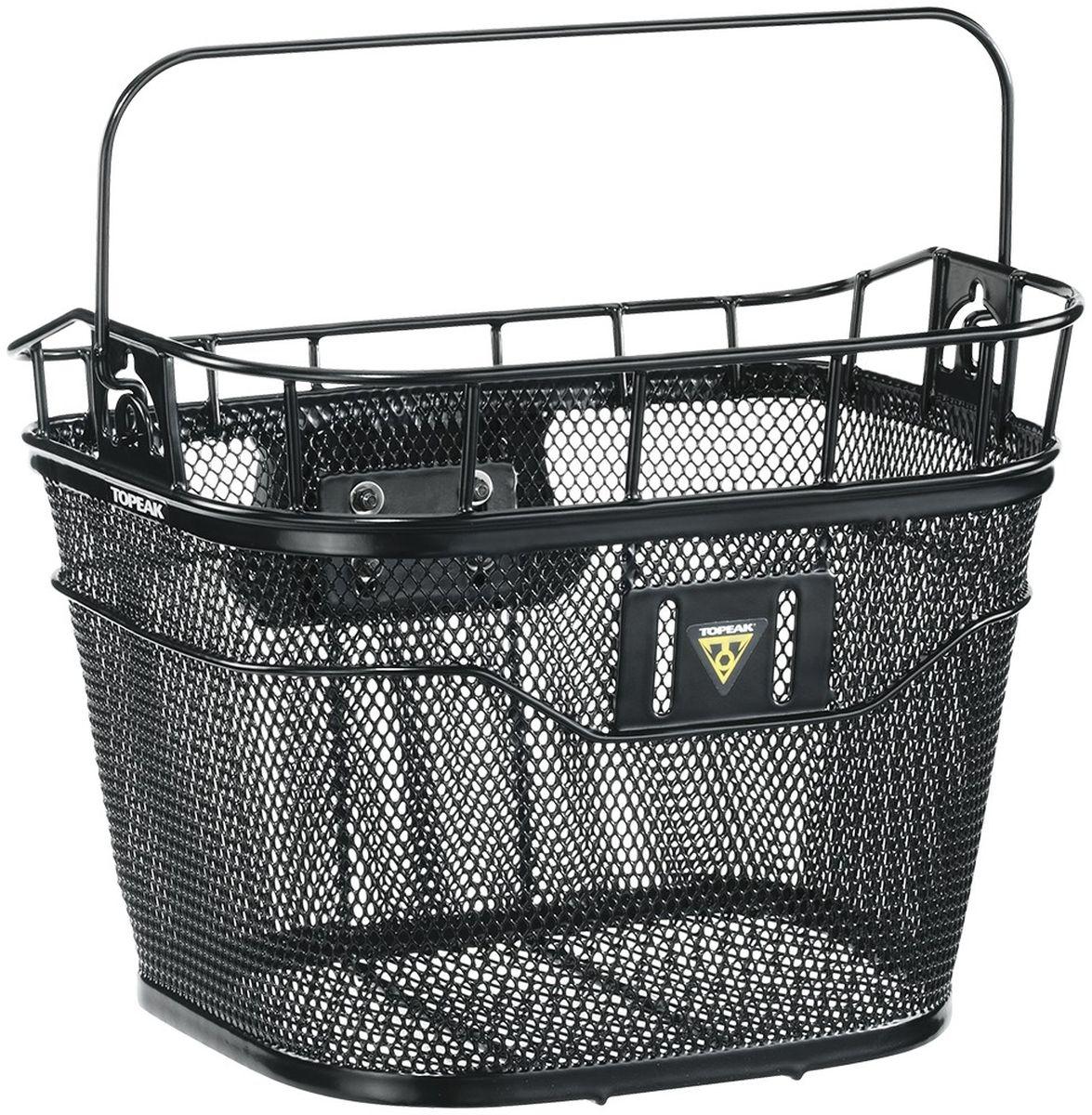 Велокорзина TOPEAK Basket Front w/E-bike Compatible Fixer, крепление подходит для электровелосипеда, цвет: черныйTB2011-Bниверсальная корзина с креплением на руль велосипеда. Совместима с электровелосипедами, где установлено головное устройство. Новое крепление QuickClick позволяет легко устанавливать и снимать корзину. Максимальная загрузка: 5 кг. Вес корзины: 1370 г. Материал: сталь со специальным покрытием. Два варианта расцветки: черный, или белый.