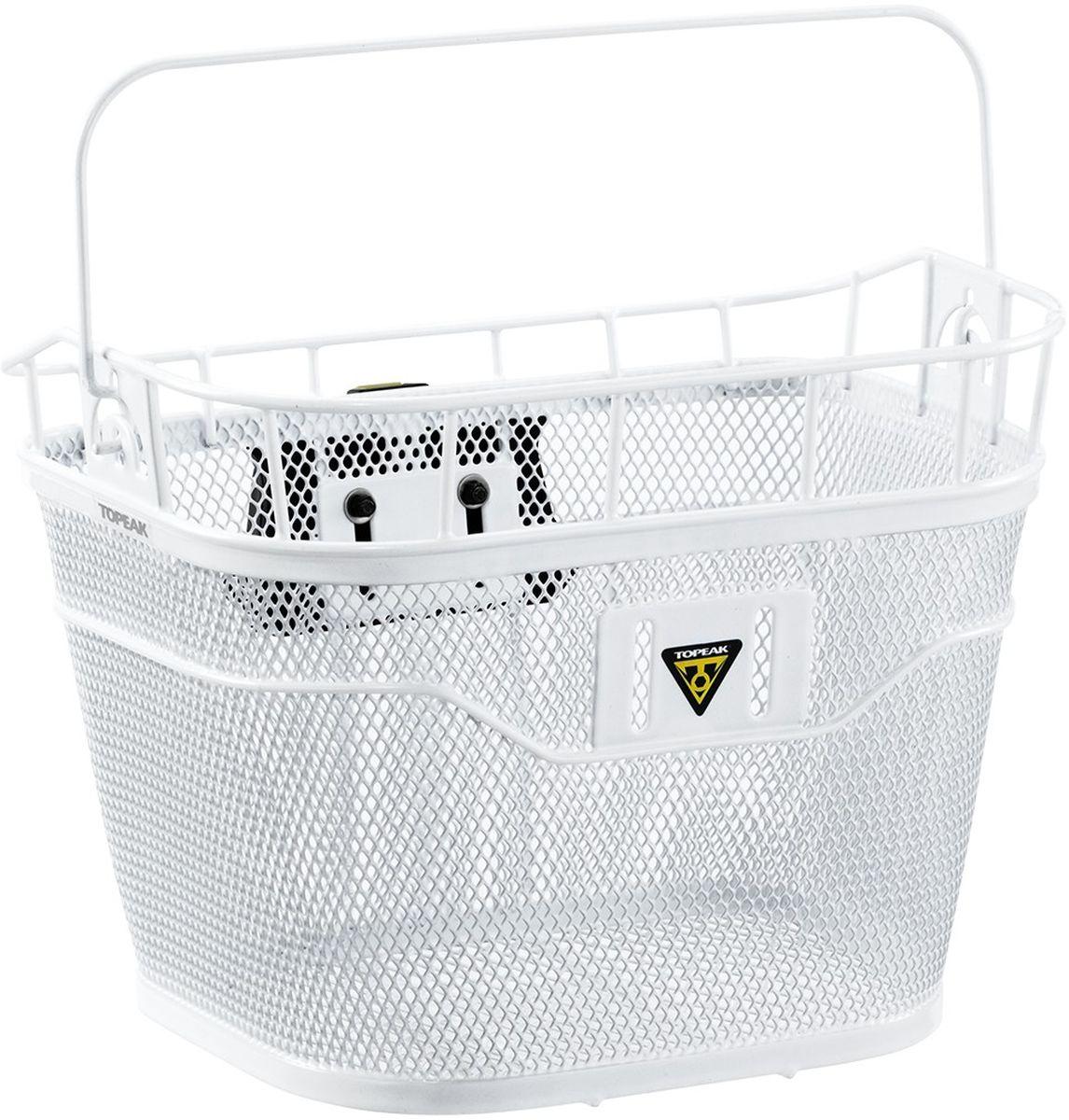 Велокорзина TOPEAK Basket Front w/E-bike Сompatible Fixer, крепление подходит для электровелосипеда, цвет: белыйTB2011-Wниверсальная корзина с креплением на руль велосипеда. Совместима с электровелосипедами, где установлено головное устройство. Новое крепление QuickClick позволяет легко устанавливать и снимать корзину. Максимальная загрузка: 5 кг. Вес корзины: 1370 г. Материал: сталь со специальным покрытием. Два варианта расцветки: черный, или белый.