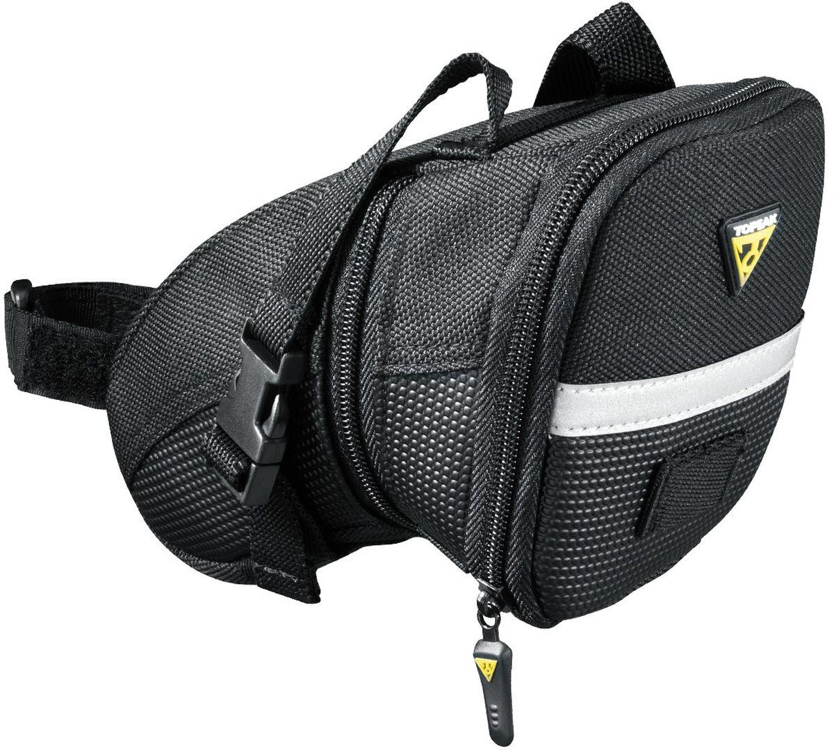 """Сумка подседельная TOPEAK Aero Wedge Pack, с креплением на липучкеTC2471BКачественная велосумка под седло. Светоотражающие элементы, удобное крепление. 1.48 - 1.97 L / 90 - 120 ci (Large). 23 x 14 x 13 cm / 9.1"""" x 5.5"""" x 5.1"""" (Large). 165 g / 5.81 oz (Large)."""